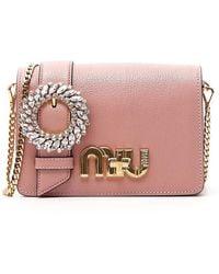 Miu Miu Crystal-embellished Fur Shoulder Bag in White - Lyst 6058886ad44a6