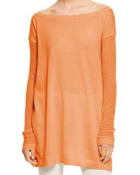 Donna Karan New York Easy Long Sleeve Tunic With Jersey Front And Back - Lyst