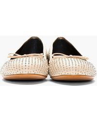 Saint Laurent Nude Leather Studded Ballerina Flats - Lyst