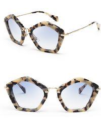 Miu Miu White Geometric Sunglasses - Lyst