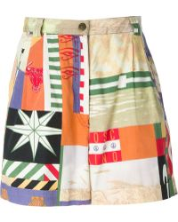 Moschino Multicolor Printed Shorts - Lyst