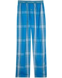 CALVIN KLEIN 205W39NYC - Blue Checked Cotton Pyjama Trousers - Lyst