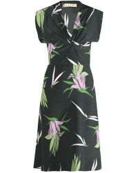 Marni V-Neck Floral-Print Dress - Lyst