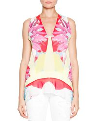 Just Cavalli Abstract Floral/Check Printed Sleeveless Top - Lyst
