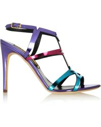 Rupert Sanderson Teoni Metallic Leather Sandals - Lyst