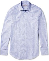 Etro Slimfit Floralprint Striped Cotton Shirt - Lyst