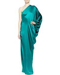 Lanvin One Shoulder Silk Satin Gown - Lyst