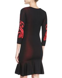 Roberto Cavalli 34sleeve Flouncebottom Dress - Lyst