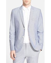 Topman Blue Oxford Skinny Fit Suit Jacket - Lyst