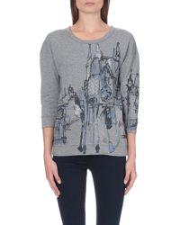 Karen Millen London-print Jersey Top Grey - Lyst