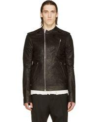 Rick Owens Black Grained Leather Moody Biker Jacket - Lyst