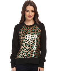 MICHAEL Michael Kors Petite Cheetah Sequin Long Sleeve Terry Top - Lyst
