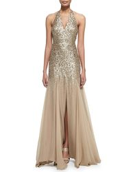 Halston Half-sequined Halter Mermaid Gown - Lyst