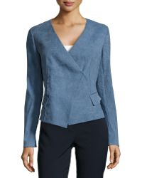 Donna Karan New York Flax-Blend Wrap Jacket - Lyst