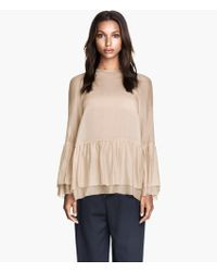 H&M Flounced Blouse in A Silk Mix - Lyst