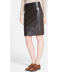 Max Mara Slam Croc-Embossed Leather and Wool Skirt - Lyst