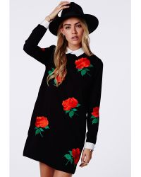 Missguided Mercy Long Sleeved Collared Shift Dress Black - Lyst