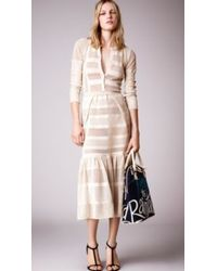 Burberry Perforated Cotton Lace Stripe Detail Dress - Lyst
