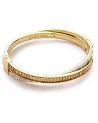 Michael Kors Pave Baguette Crossover Bracelet Goldtopaz - Lyst