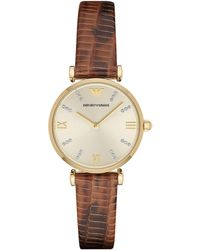 Emporio Armani Ladies Goldtone Stainless Steel Leather Strap Watch brown - Lyst