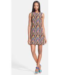 M Missoni  Zig Zag Print Silk Shift Dress - Lyst