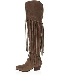 River Island | Taupe Brown Over The Knee Fringed Boots | Lyst