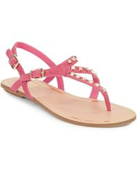 DV by Dolce Vita Rosario Studded Faux Leather Thong Sandals pink - Lyst