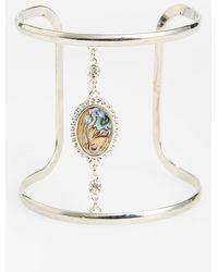 Topshop Women'S Stone Cuff Bracelet - Silver Multi - Lyst