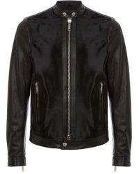 DSquared² Pony Detail Biker Jacket black - Lyst