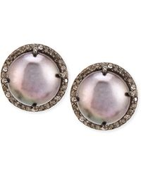 Siena Jewelry - Dark Pearl And Diamond Bezel Stud Earrings - Lyst