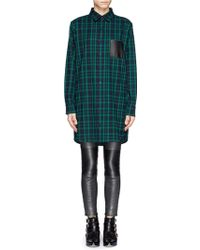 Maje Grungy Leather Pocket Plaid Shirt Dress - Lyst