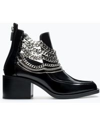 Zara Bootie with Chains - Lyst