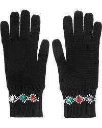 Markus Lupfer Crystal Embellished Merino Wool Gloves - Lyst