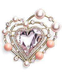 St. John - Swarovski Crystal & Glass Pearl Brooch - Light Gold - Lyst