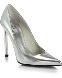 Stuart Weitzman Point-Toe Metallic Leather Pumps - Lyst