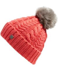 Smartwool - 'ski Town' Faux Fur Pompom Beanie - Coral - Lyst