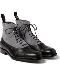 Grenson Foot The Coacher Suede and Leather Brogue Boots - Lyst