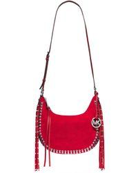 Michael Kors Rhea Studded Suede Shoulder Bag - Lyst