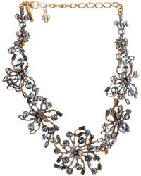 Oscar de la Renta Resin, Coral And Crystal Necklace - Lyst