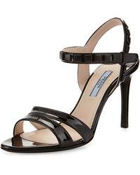Prada Studded Patent Anklewrap Sandal - Lyst
