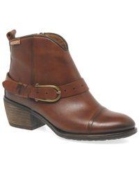 Pikolinos - Balta Womens Western Buckle Trim Ankle Boots - Lyst