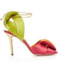 e52b12fa6bc5 Lyst - Saint Laurent Neon Patent-Leather Sandals in Yellow