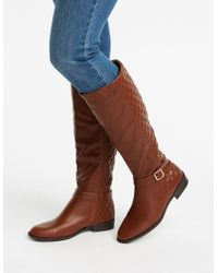 c853990130d2 Lyst - Charlotte Russe Bamboo Lace-up Side Knee-high Boots in Brown