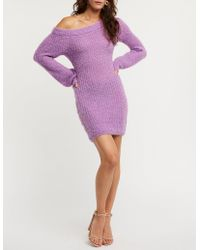 Charlotte Russe - Fuzzy Off The Shoulder Sweater Dress - Lyst