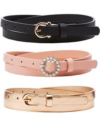Charlotte Russe - Skinny Faux Leather Belts - 3 Pack - Lyst
