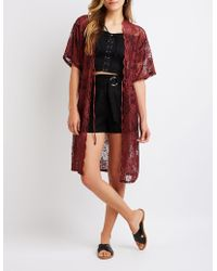 Charlotte Russe - Scalloped Lace Tie Front Kimono - Lyst