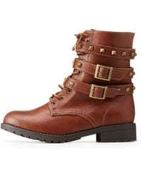 Charlotte Russe - Studded Wrap Combat Boots - Lyst
