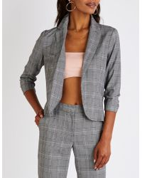 Charlotte Russe - Plaid Ruched Sleeve Blazer - Lyst