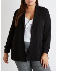 Charlotte Russe - Plus Size Longline Open Front Blazer - Lyst