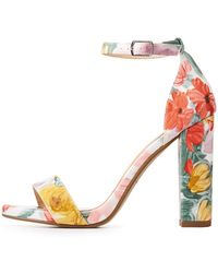 Charlotte Russe - Floral Ankle Strap Sandals - Lyst